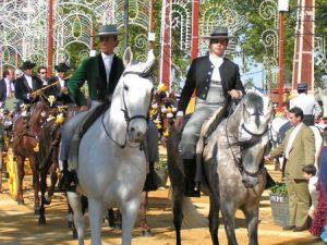 Reiter presentieren ihre prachtvollen Pferde