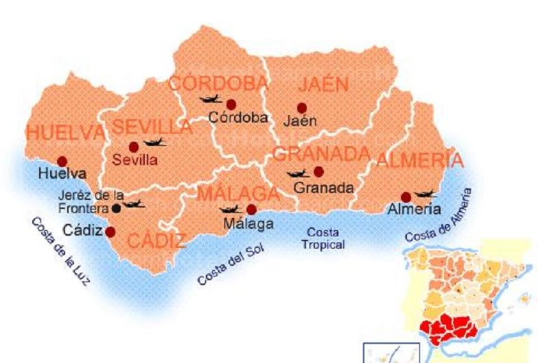 Karte der Küsten von Andalusien